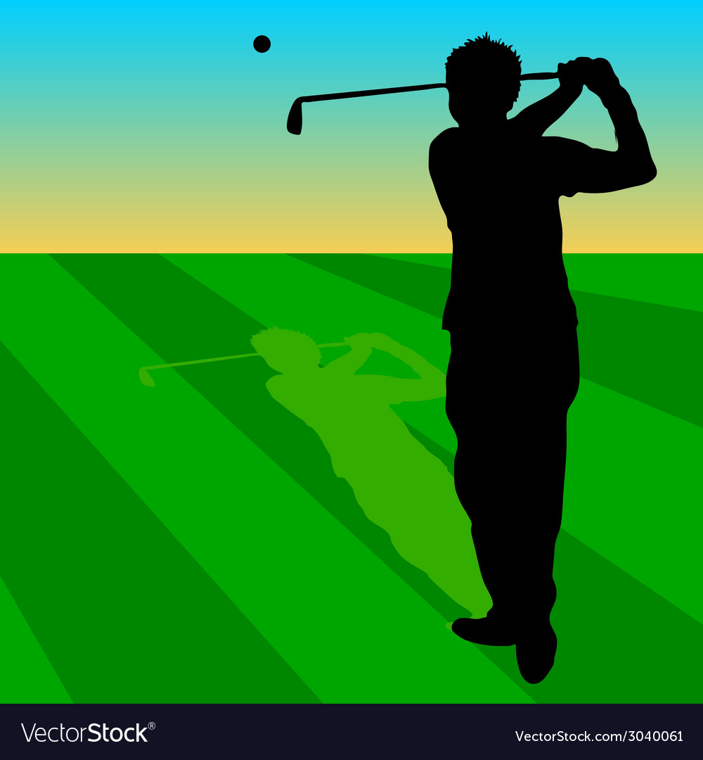 Golfer black on green grass vector | Price: 1 Credit (USD $1)