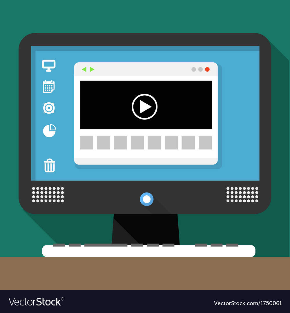 Modern personal computer with media browser window vector | Price: 1 Credit (USD $1)