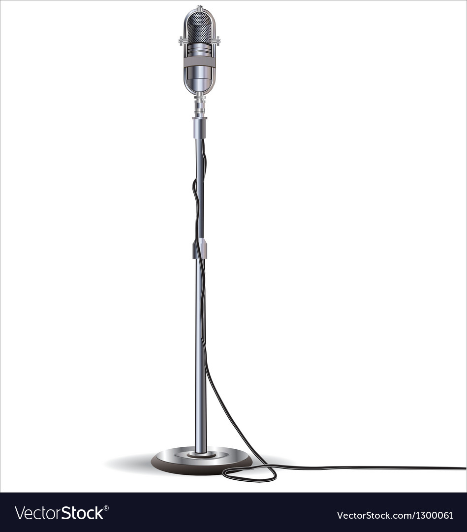 Old styled microphone isolated on white background vector | Price: 3 Credit (USD $3)