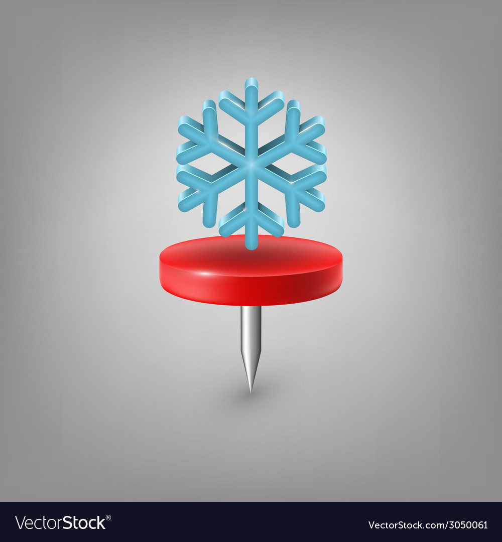 Red pin icon weather snowflake vector   Price: 1 Credit (USD $1)