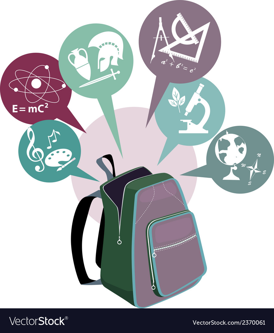 School backpack and symbols of subjects vector | Price: 1 Credit (USD $1)