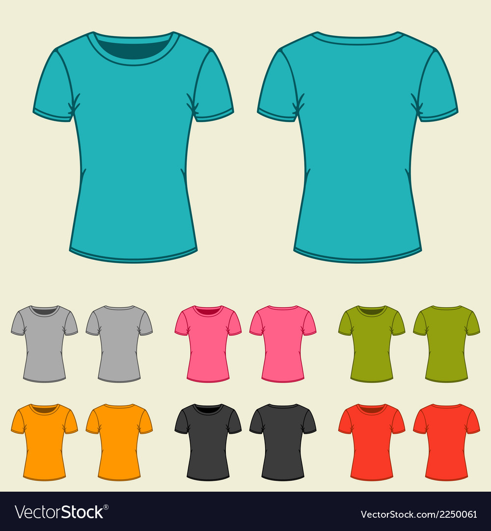 Set of templates colored t-shirts for women vector | Price: 1 Credit (USD $1)