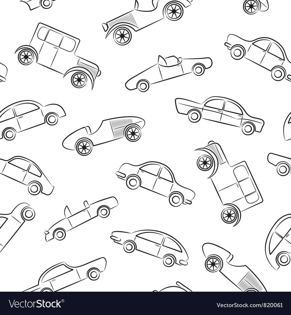 Vintage cars pattern vector | Price: 1 Credit (USD $1)