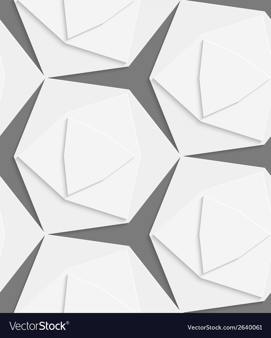 White hexagonal shapes layered seamless pattern vector | Price: 1 Credit (USD $1)