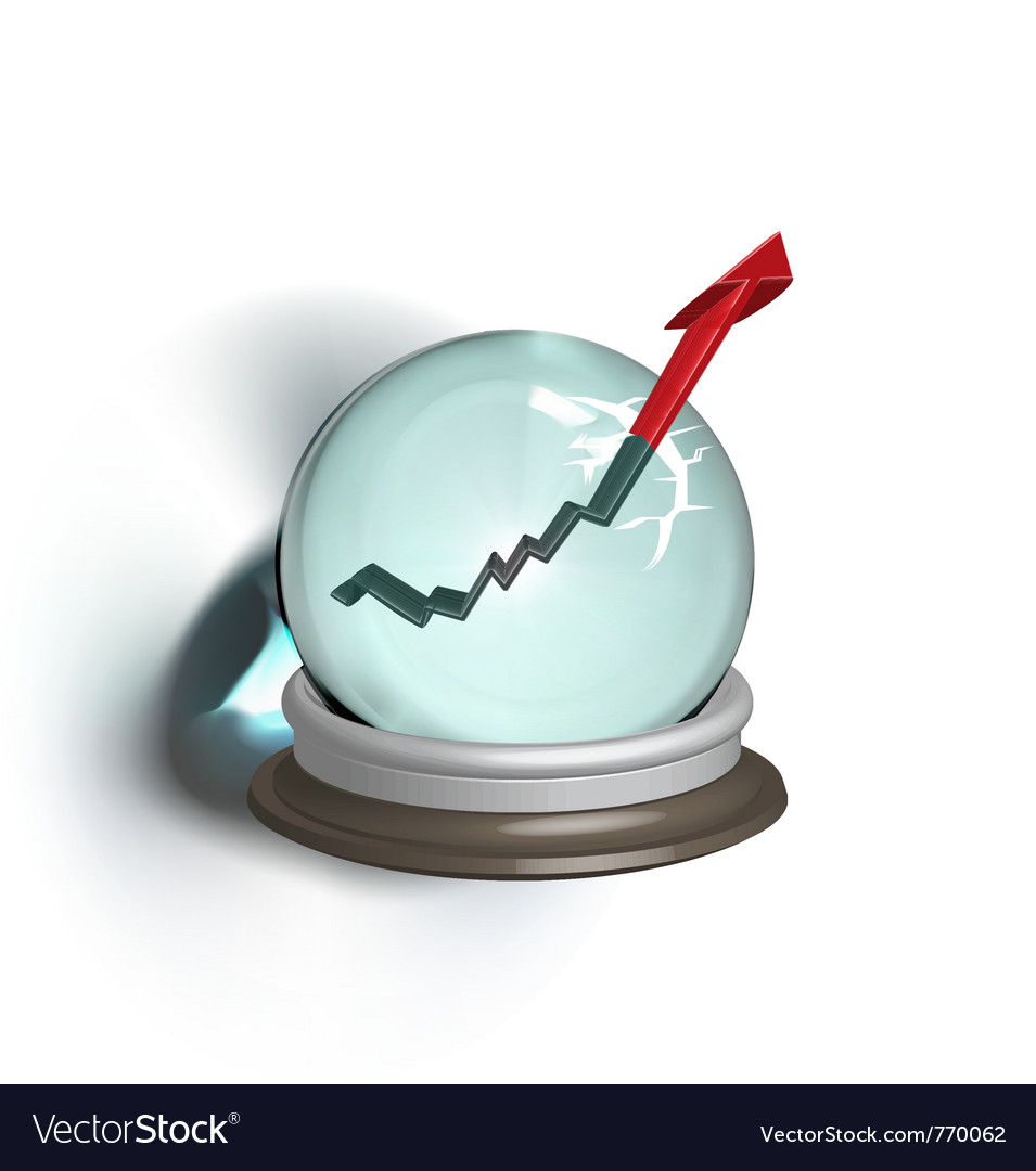 Broken magic crystal ball and finance arrow vector | Price: 1 Credit (USD $1)