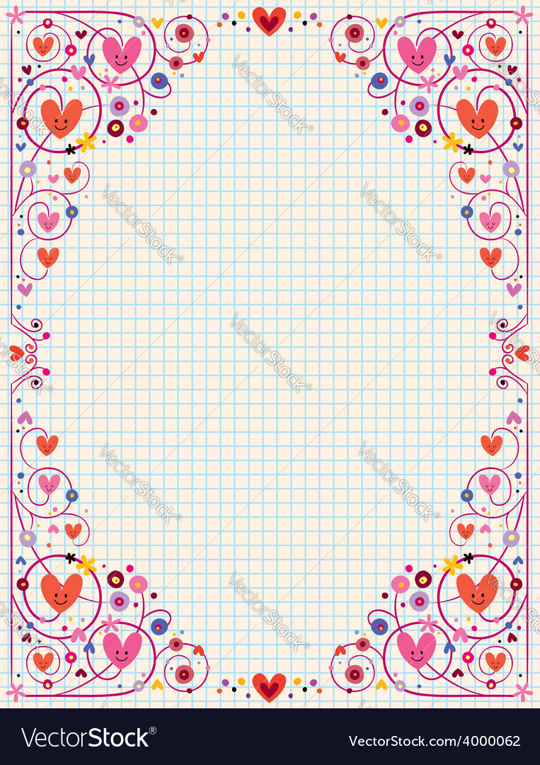 Cute hearts frame vector | Price: 1 Credit (USD $1)