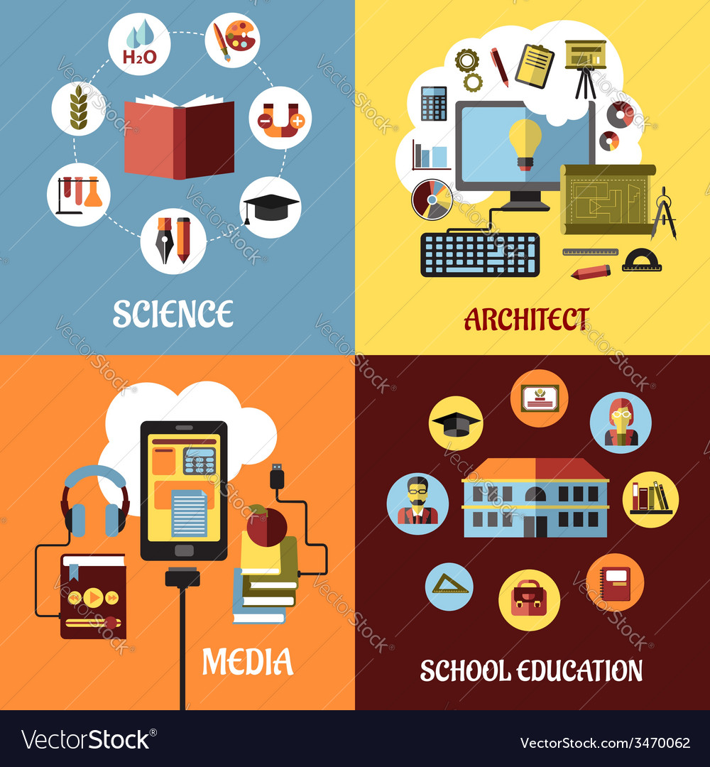 Educational concept designs in flat style vector | Price: 1 Credit (USD $1)