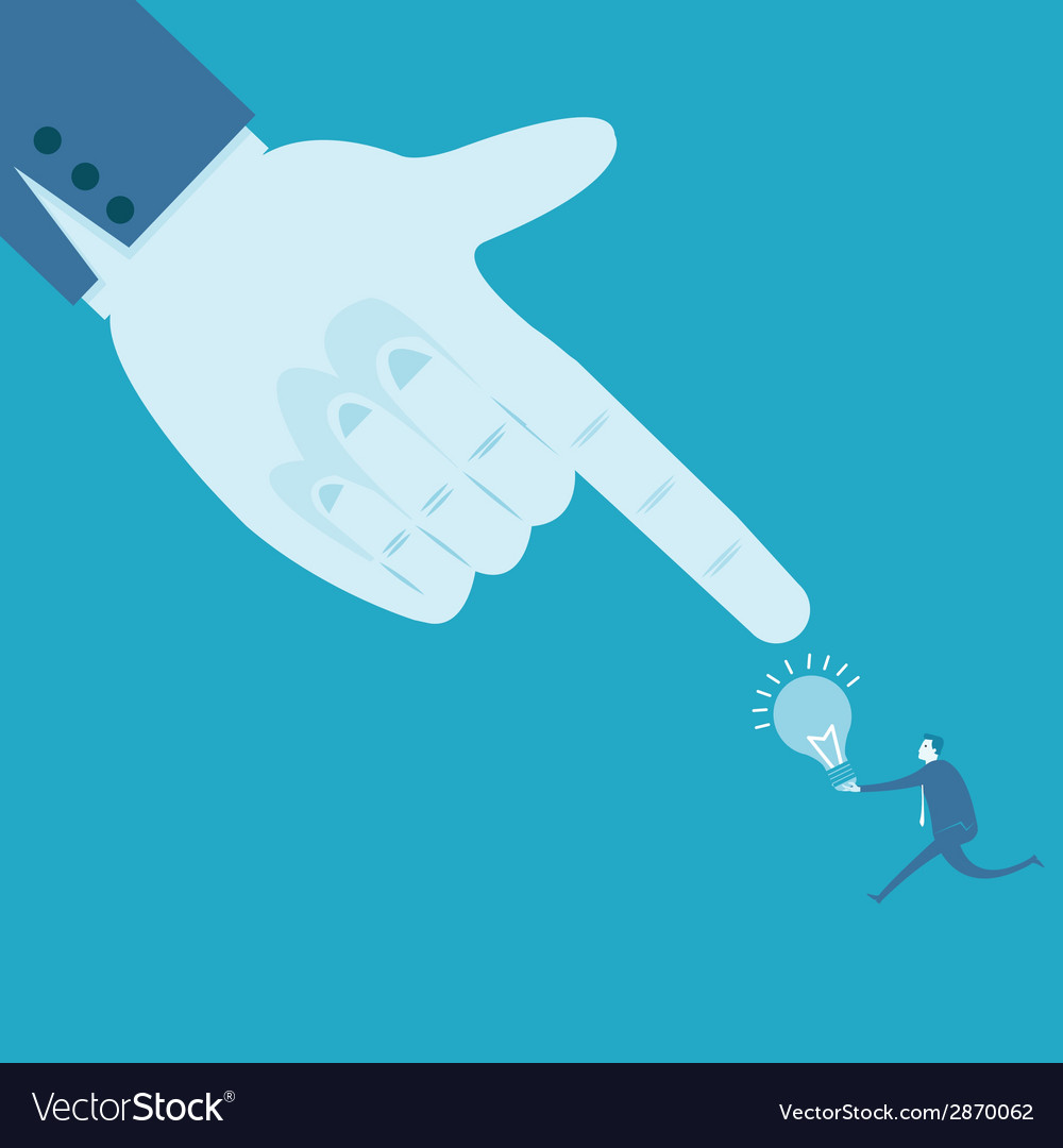 Large hand pointing at idea vector | Price: 1 Credit (USD $1)