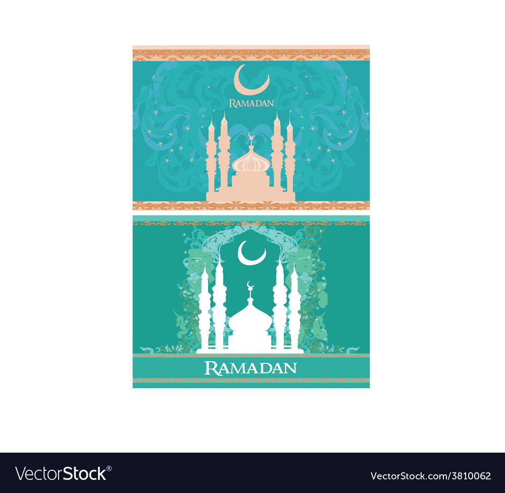 Ramadan background - mosque silhouette card set vector | Price: 1 Credit (USD $1)