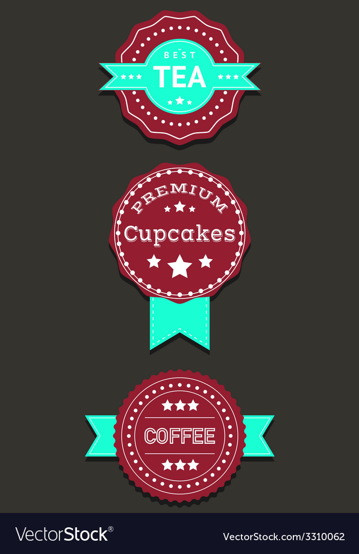 Set labels and badges with coffee tea cupcakes vector | Price: 1 Credit (USD $1)
