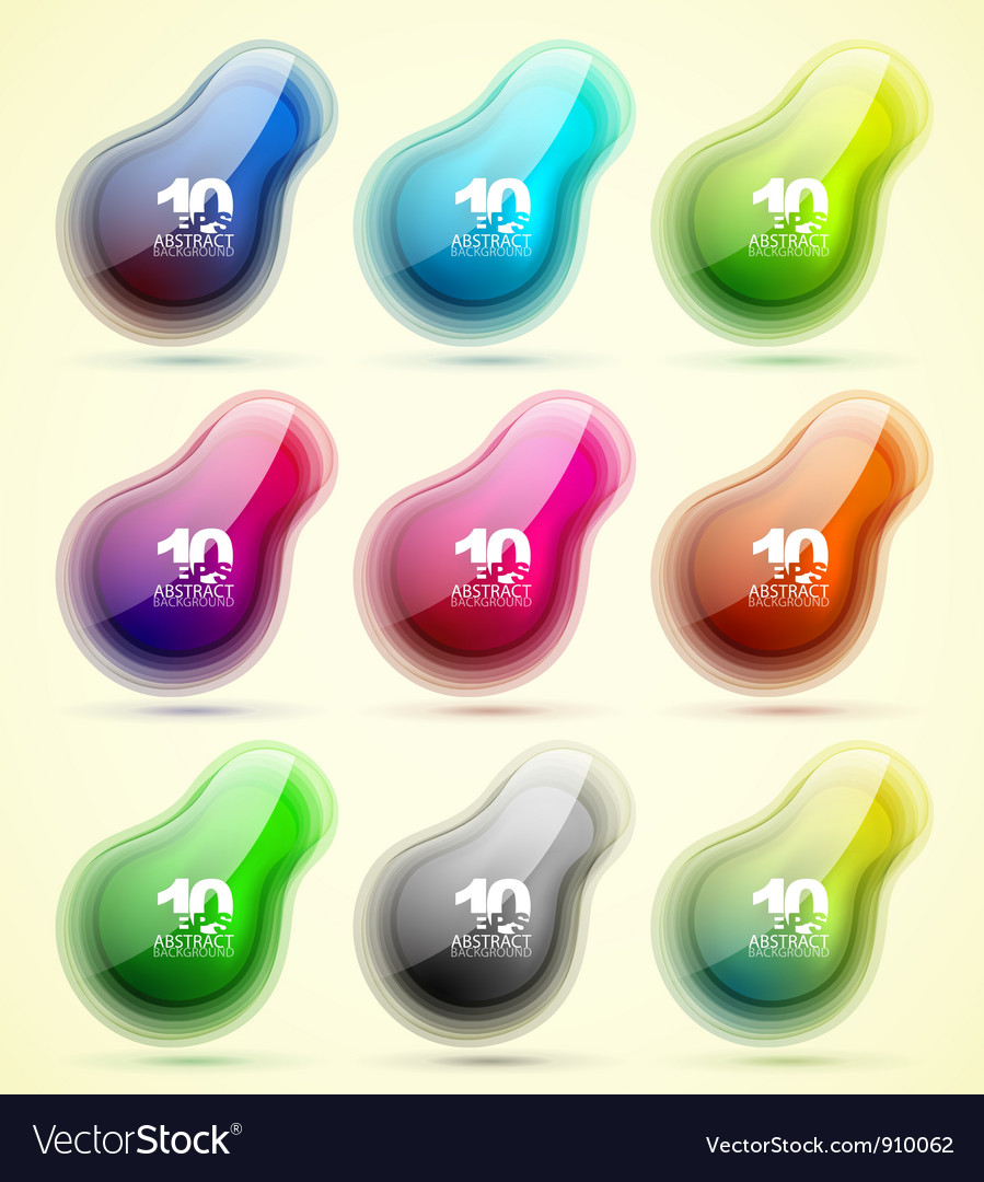 Set of abstract translucent shapes vector | Price: 3 Credit (USD $3)