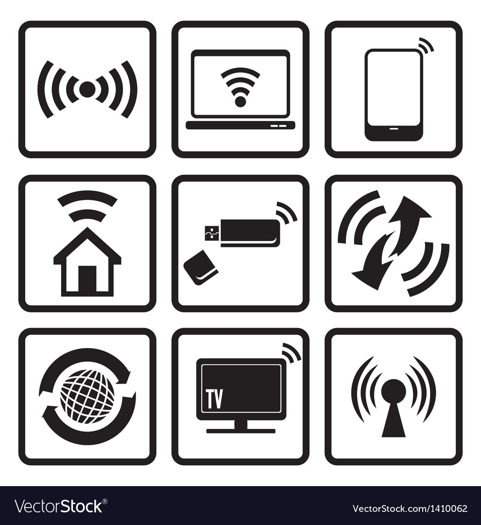 Wireless technology web icons set vector | Price: 1 Credit (USD $1)
