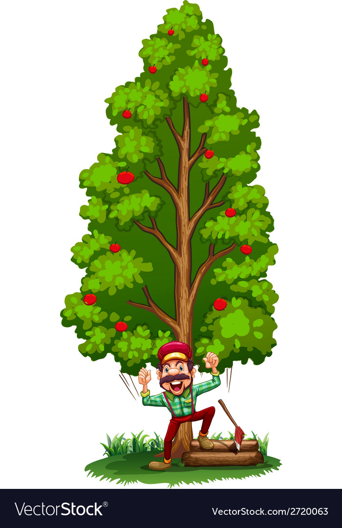 A happy woodman under the tree vector | Price: 1 Credit (USD $1)