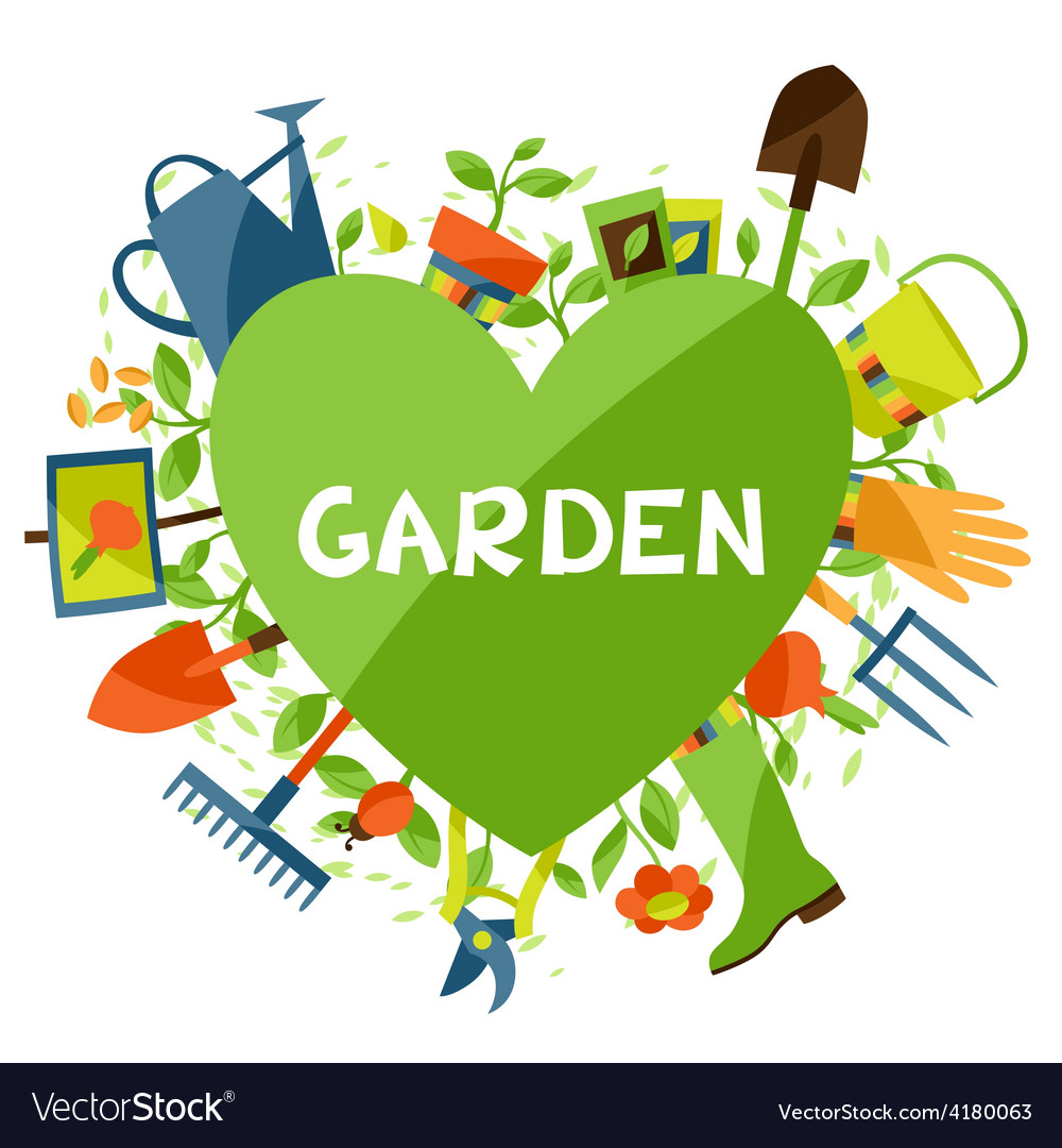 Background with garden design elements and icons vector | Price: 1 Credit (USD $1)
