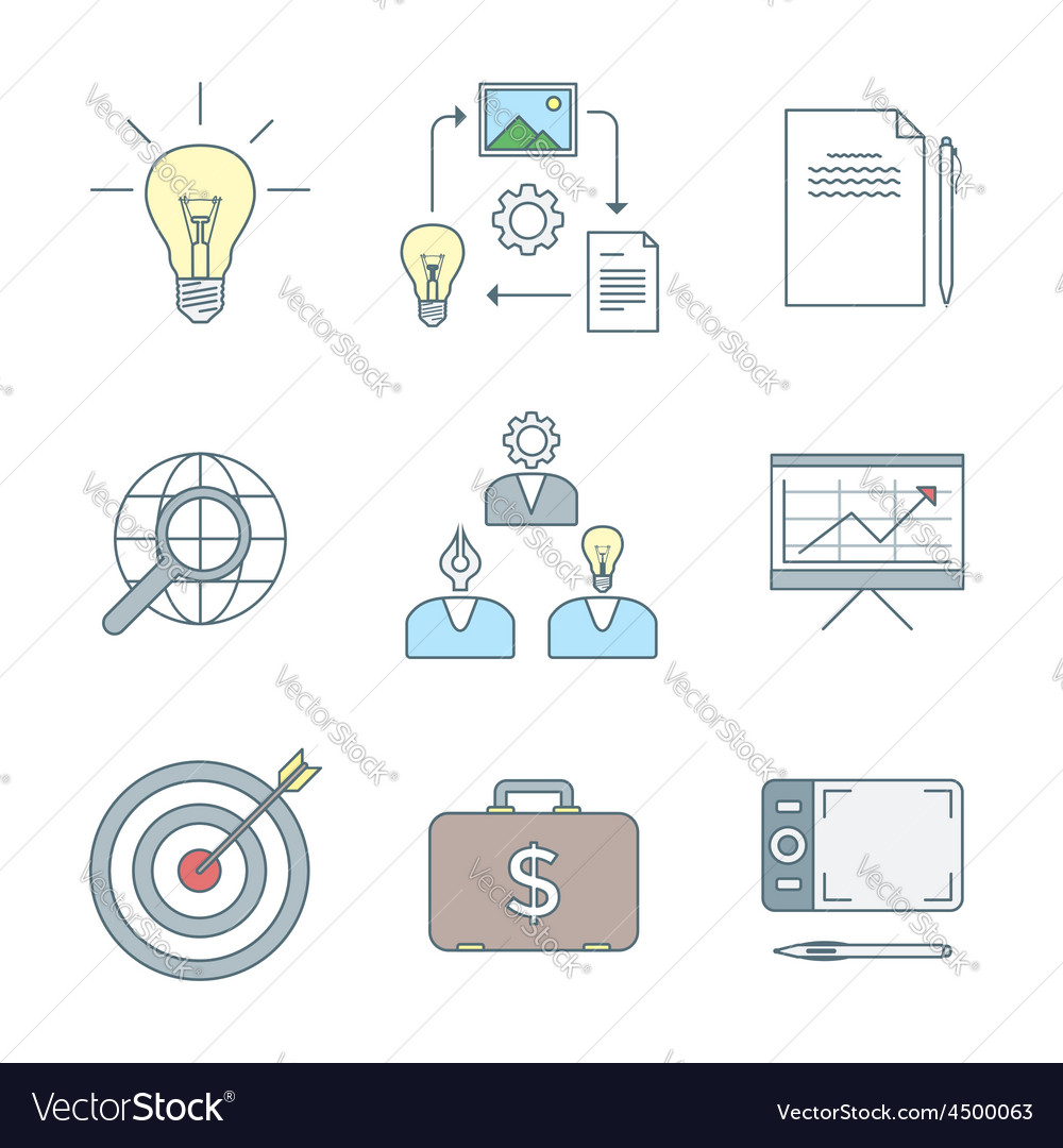 Colored outline creative business process icons vector | Price: 1 Credit (USD $1)