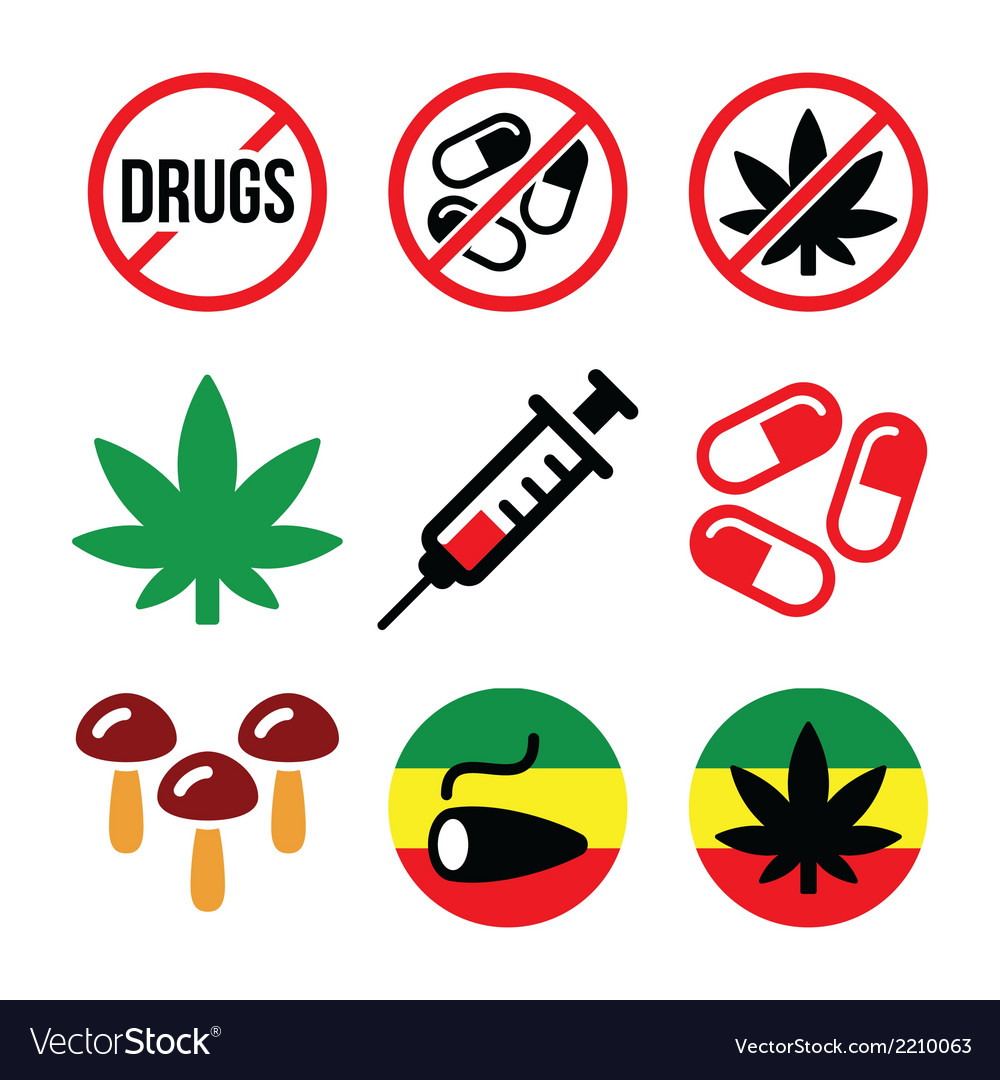 Drugs addiction marijuana syringe colorful icon vector | Price: 1 Credit (USD $1)