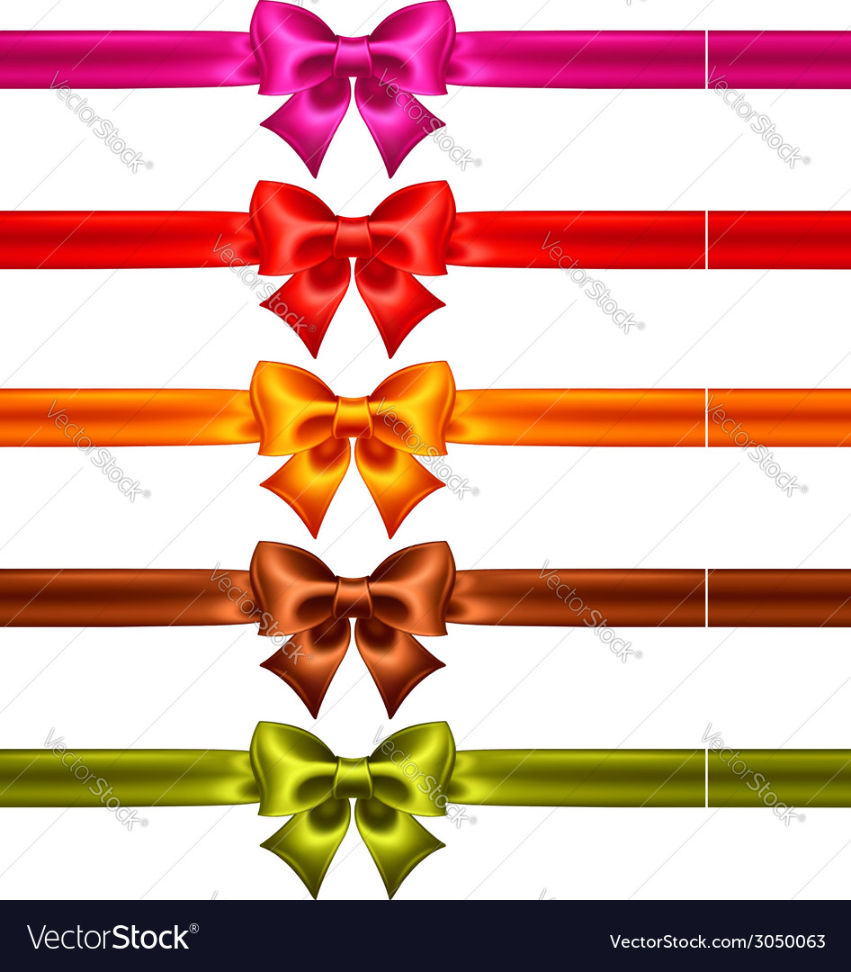 Festive bows in warm colors with ribbons vector