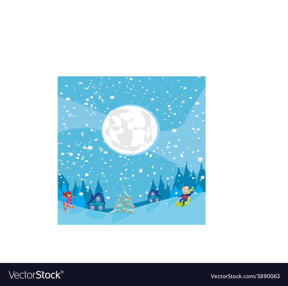 Fun in the winter night vector | Price: 1 Credit (USD $1)