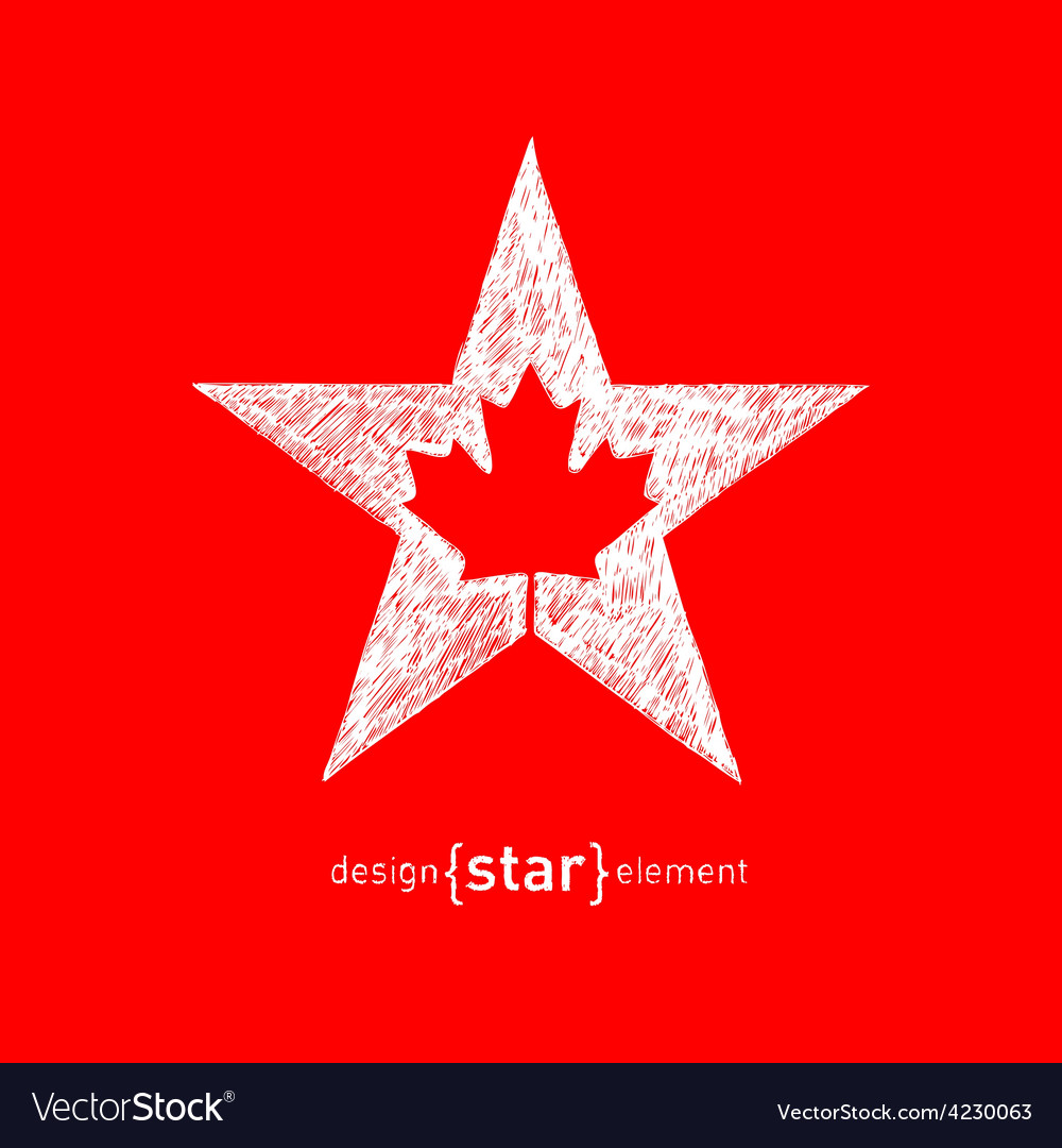 Hand draw canadian maple leaf in star vector | Price: 1 Credit (USD $1)