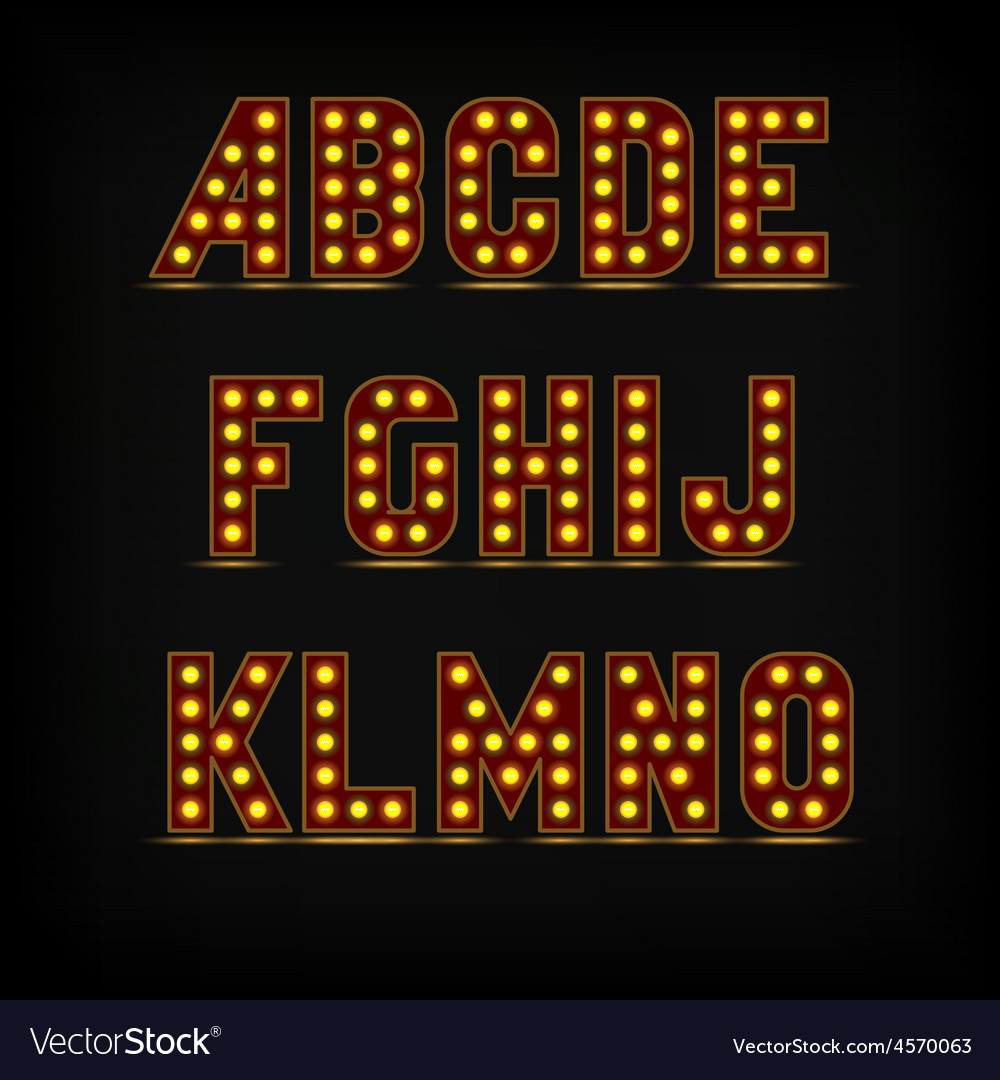 Lightbulb alphabet font vector