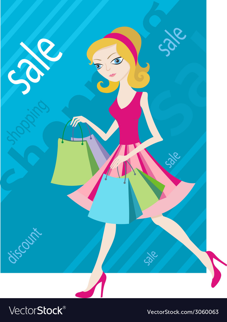 Shopping sale girl woman goes and showing shopping vector | Price: 1 Credit (USD $1)