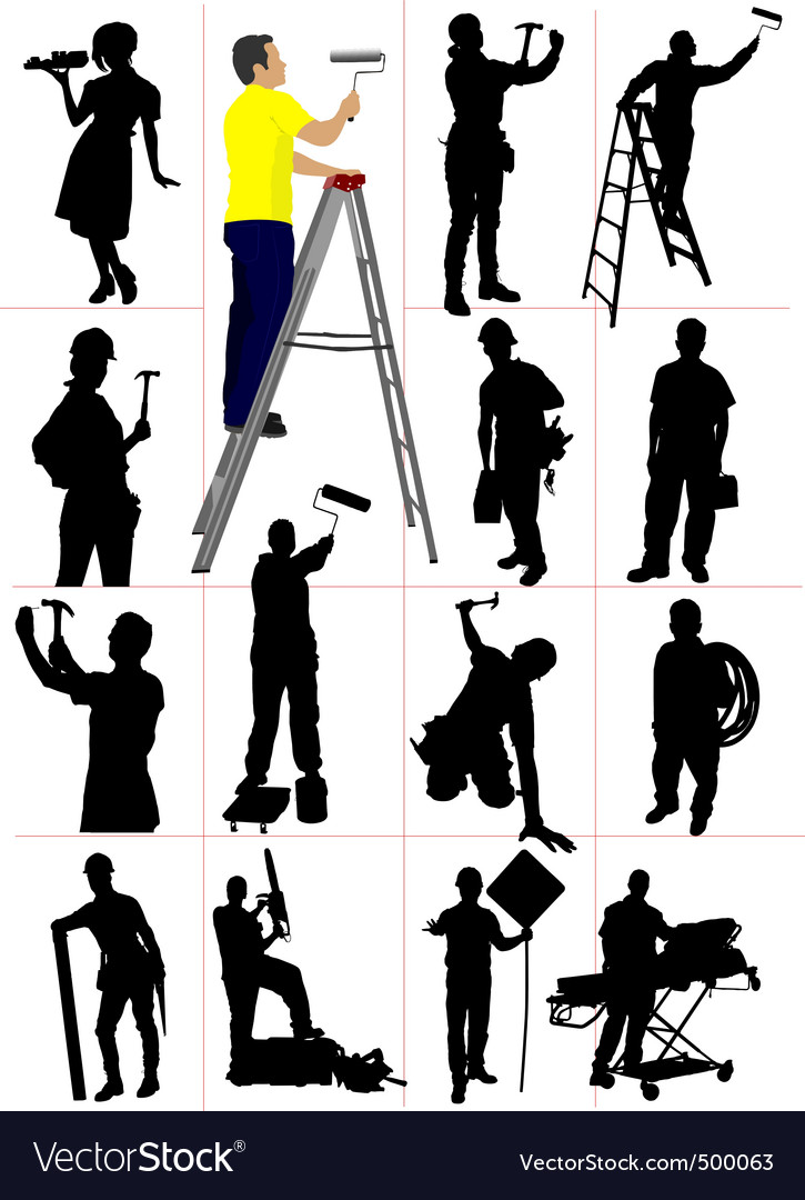 Worker silhouettes vector | Price: 1 Credit (USD $1)