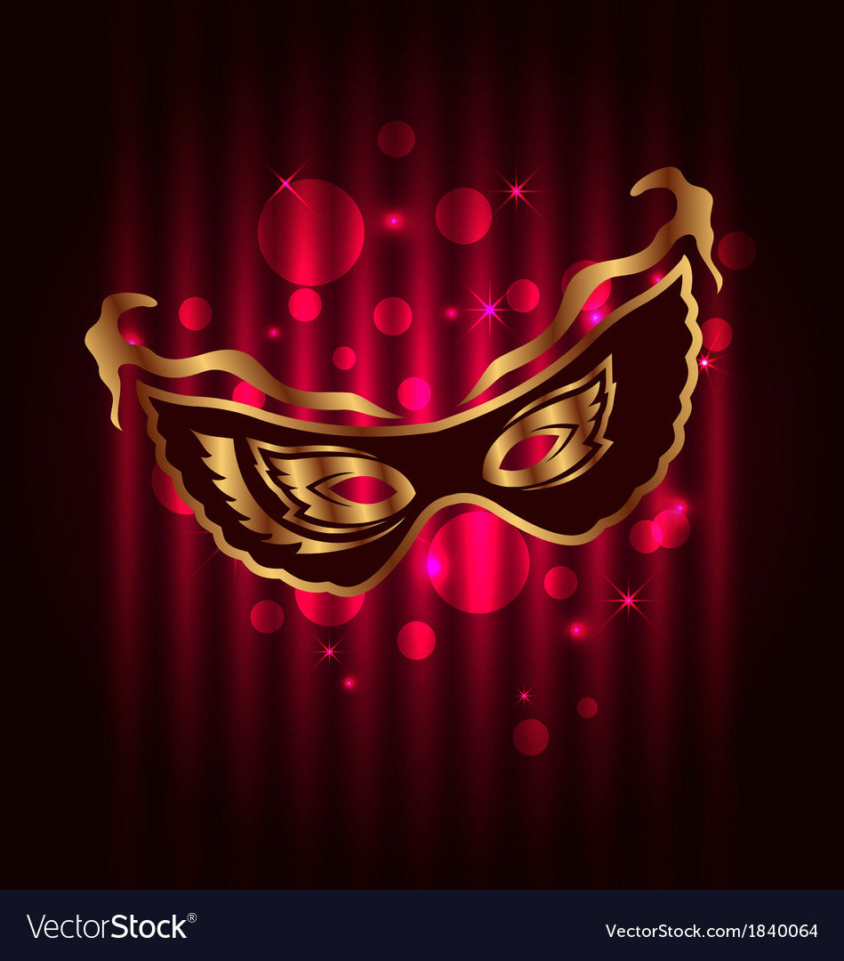 Carnival or theater mask on glowing background vector | Price: 1 Credit (USD $1)