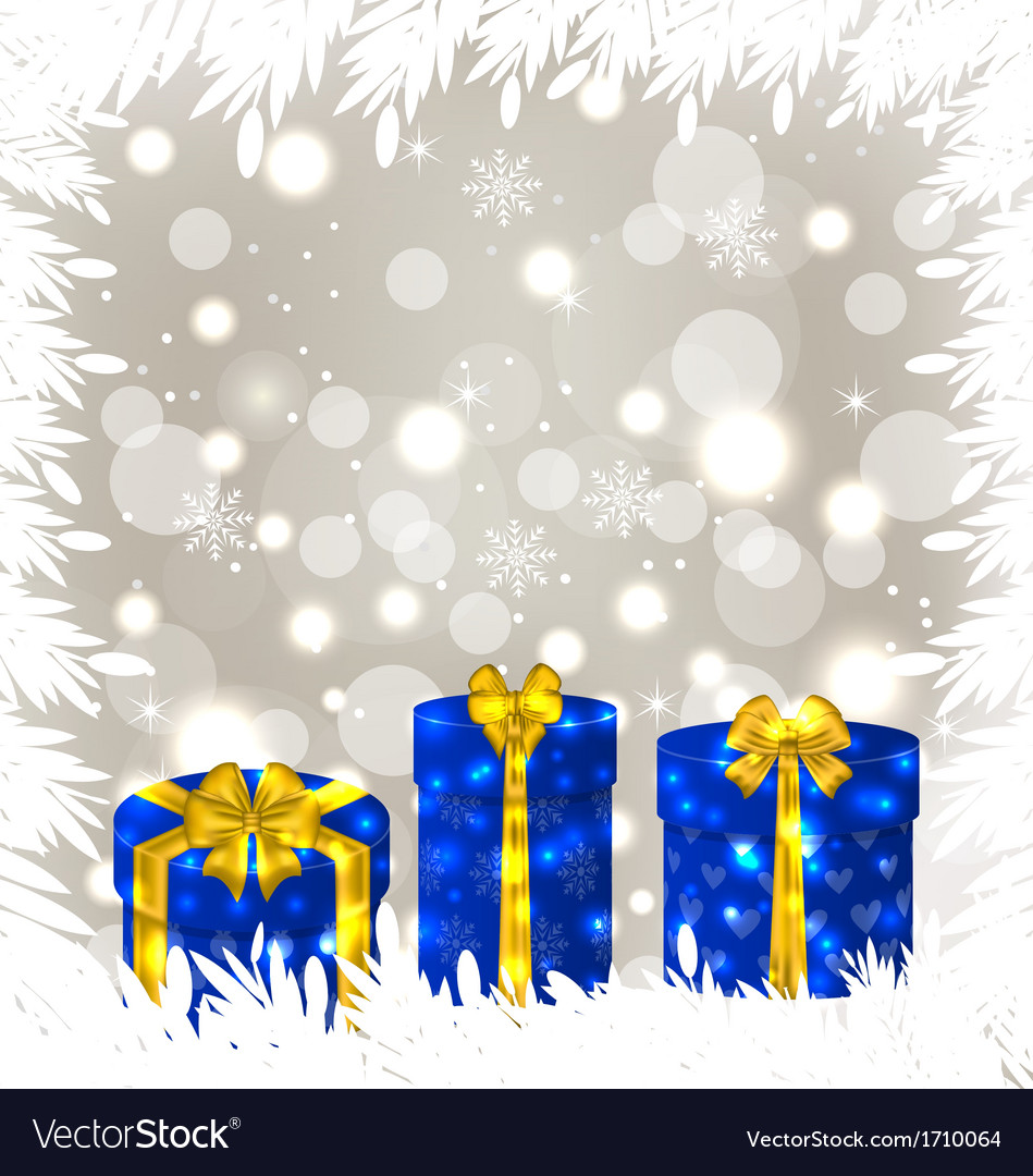 Christmas gift boxes on glowing background vector | Price: 1 Credit (USD $1)
