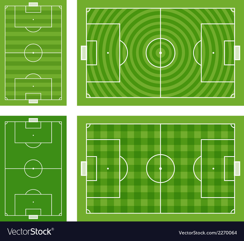 Different green football fields set vector | Price: 1 Credit (USD $1)