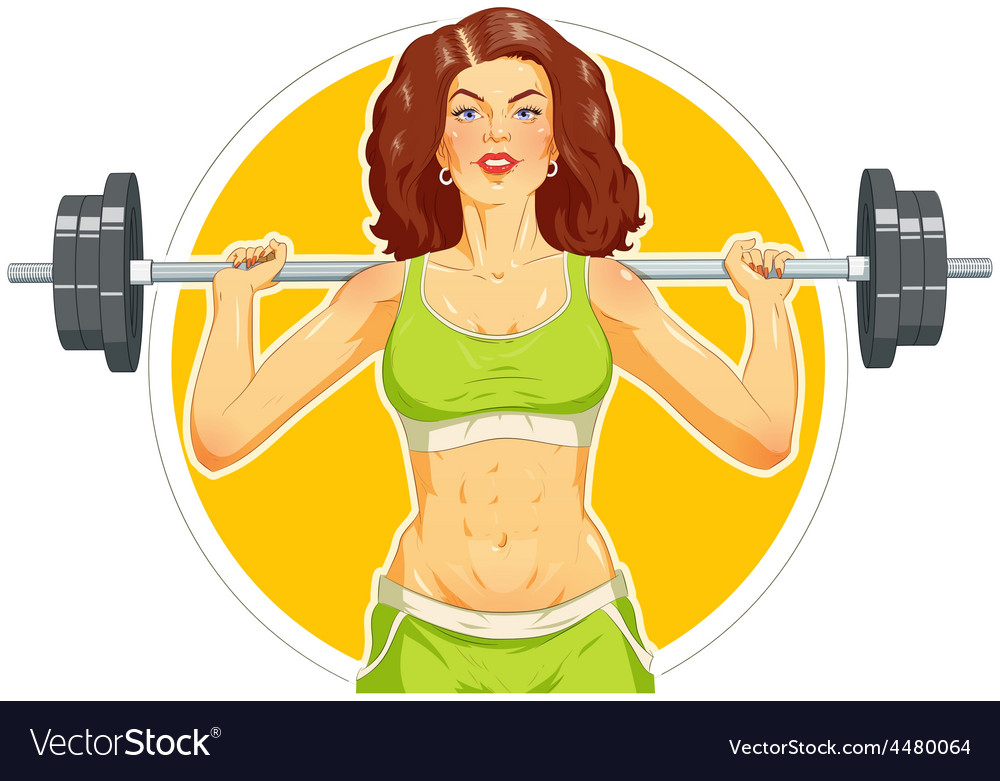 Girl doing fitness exercise vector | Price: 3 Credit (USD $3)