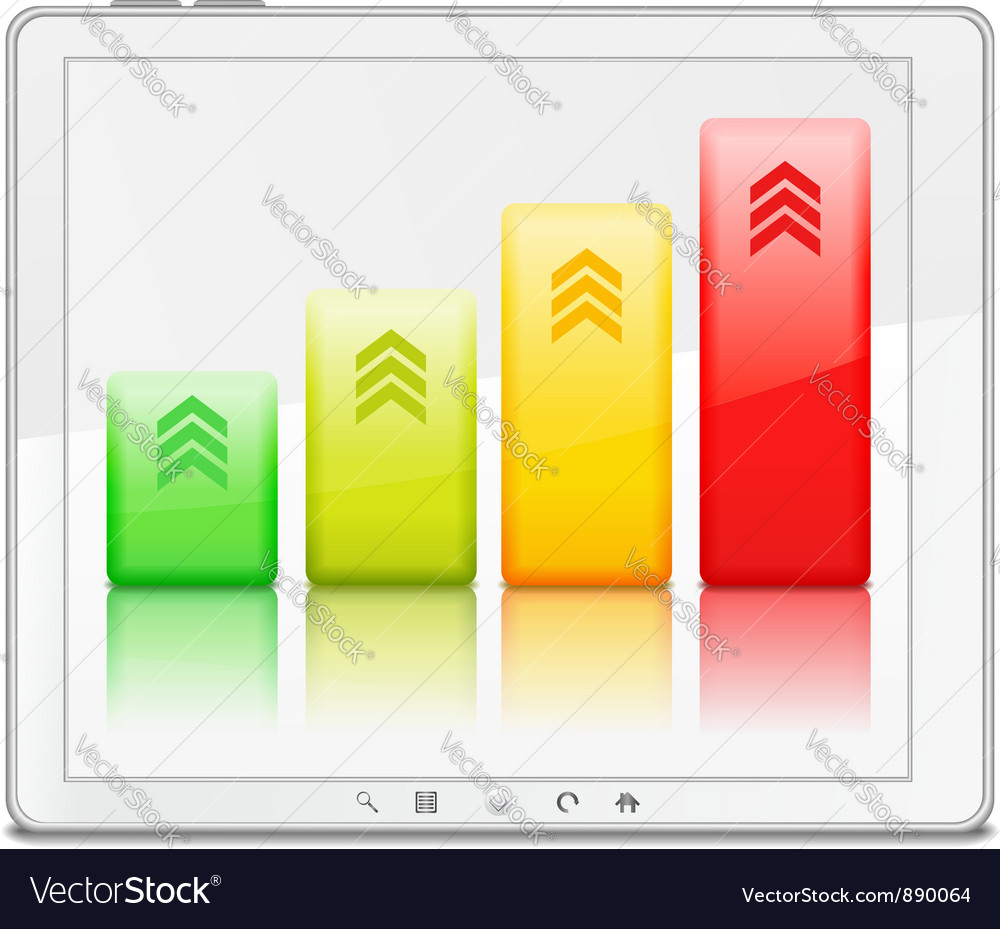 Graph on the screen of tablet pc vector | Price: 1 Credit (USD $1)