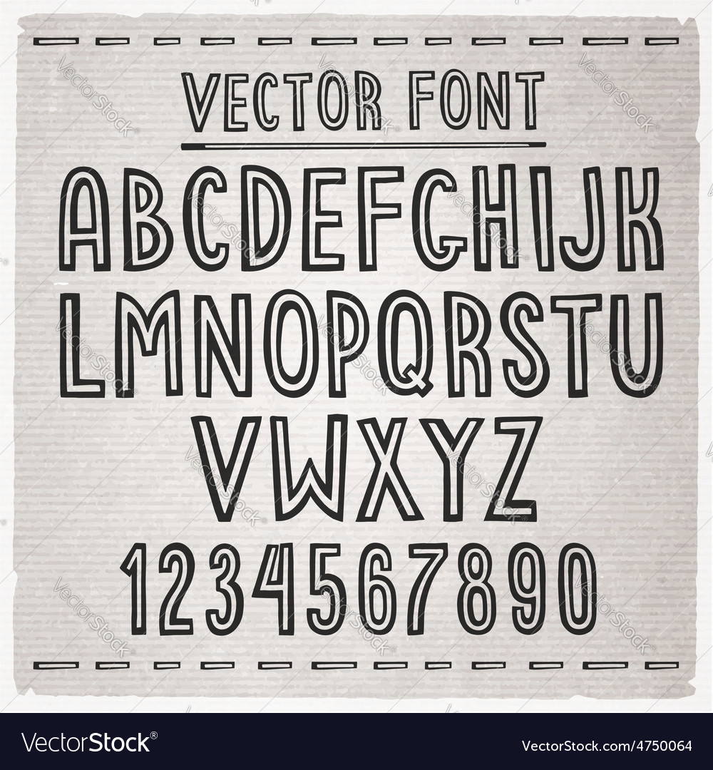 Hand drawn font alphabet vector | Price: 1 Credit (USD $1)
