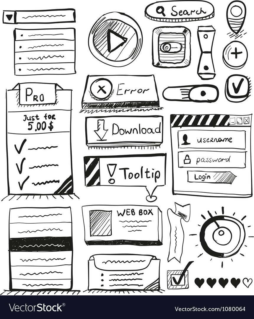 Hand drawn set of user interface design elements vector | Price: 1 Credit (USD $1)