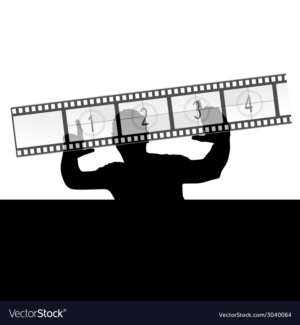 Man and film strip vector | Price: 1 Credit (USD $1)