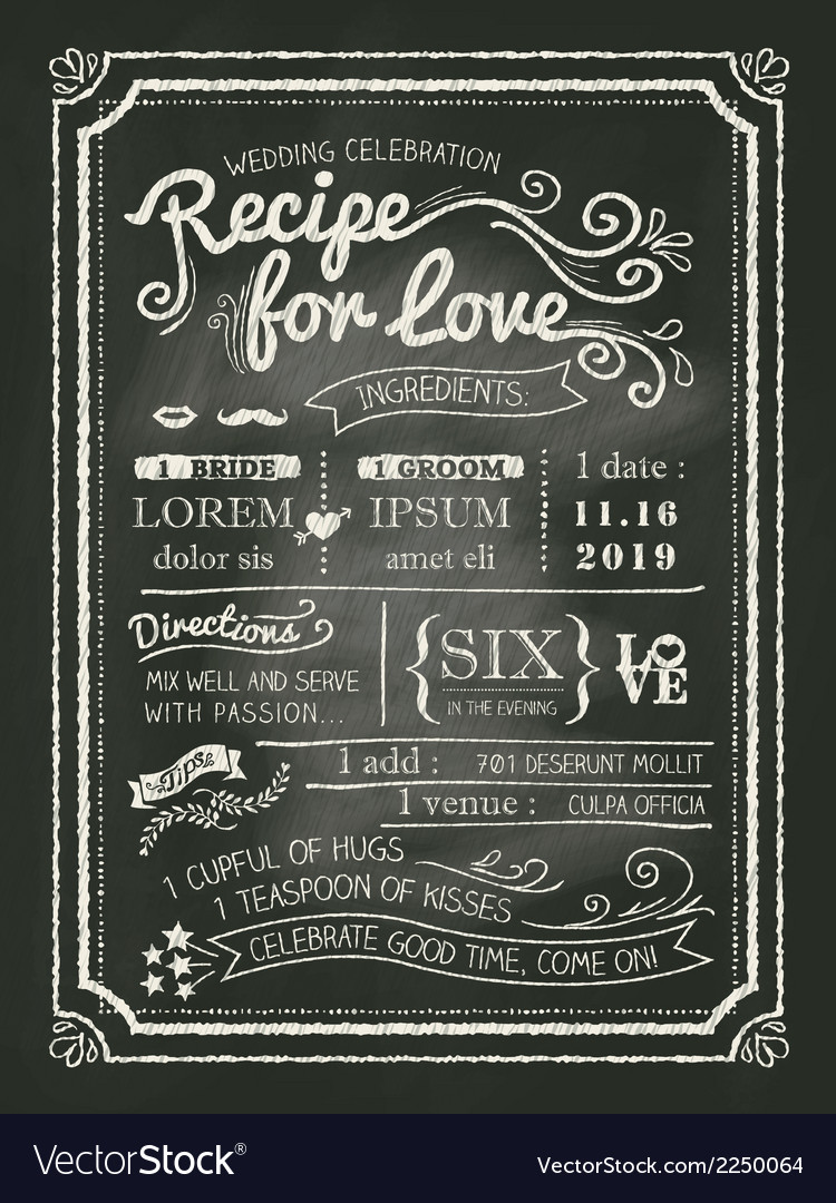 Recipe chalkboard wedding invitation background vector