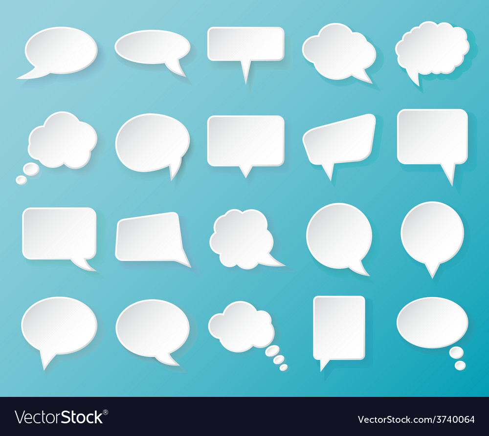 Shiny white paper bubbles for speech on an blue vector | Price: 1 Credit (USD $1)
