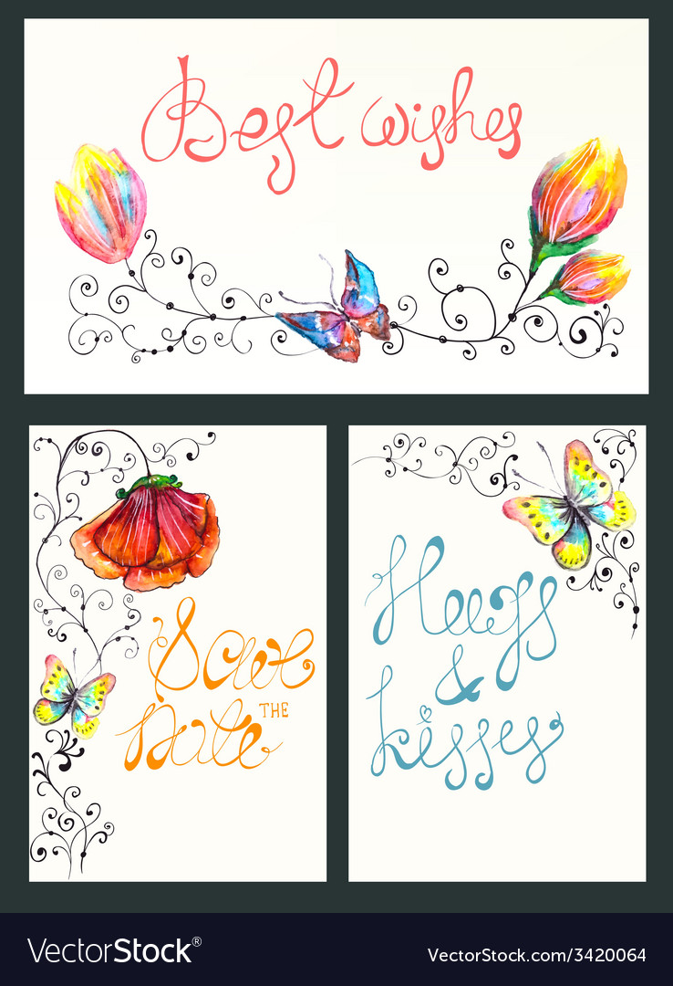 Watercolor floral card collection vector | Price: 1 Credit (USD $1)