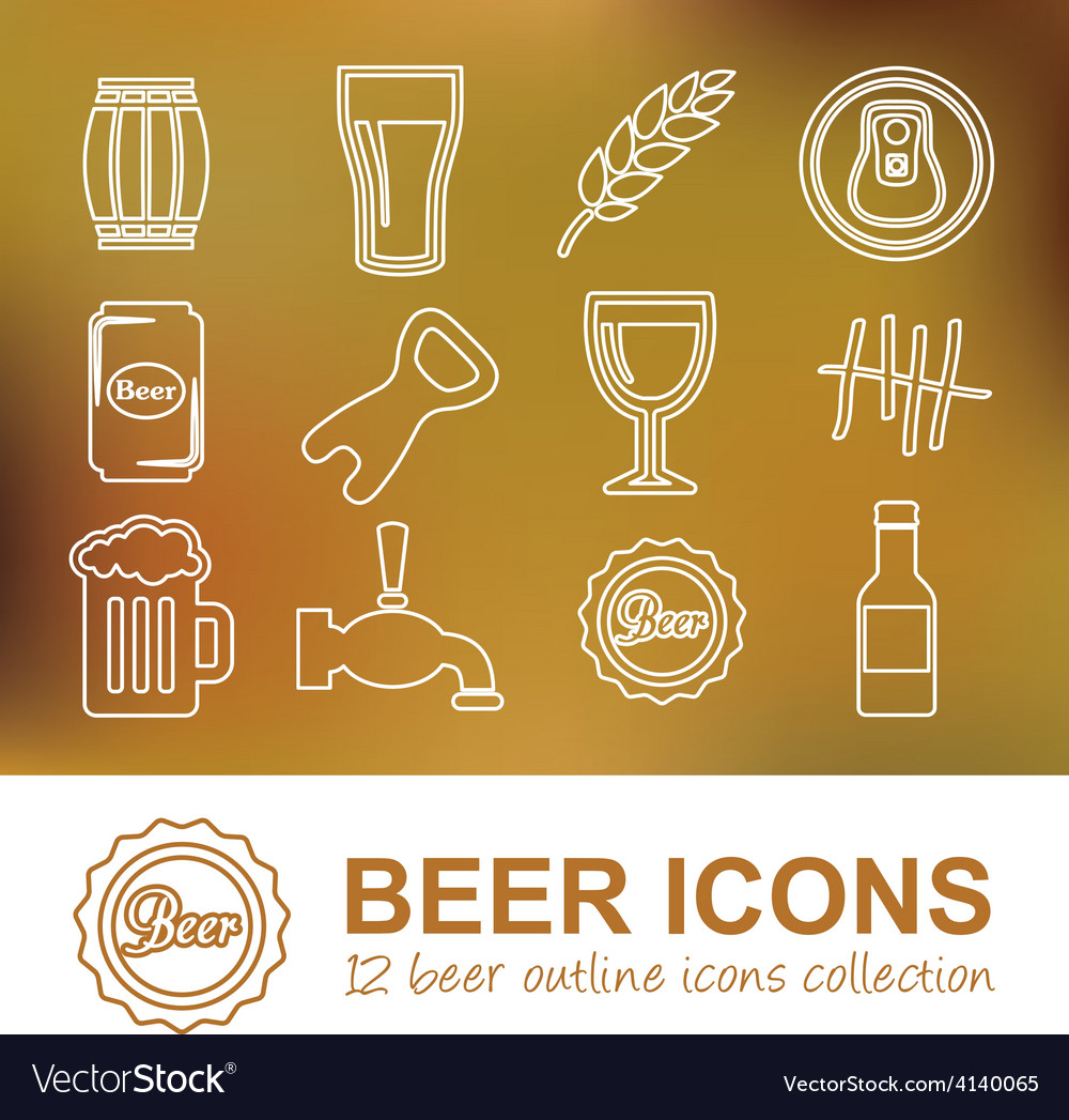 Beer outline icons vector | Price: 1 Credit (USD $1)