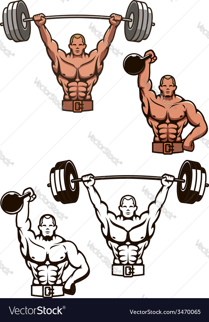 Bodybuilder lifting weights vector | Price: 1 Credit (USD $1)
