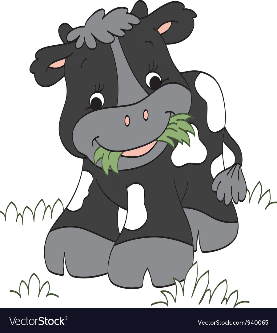 Calf chewing grass vector | Price: 1 Credit (USD $1)