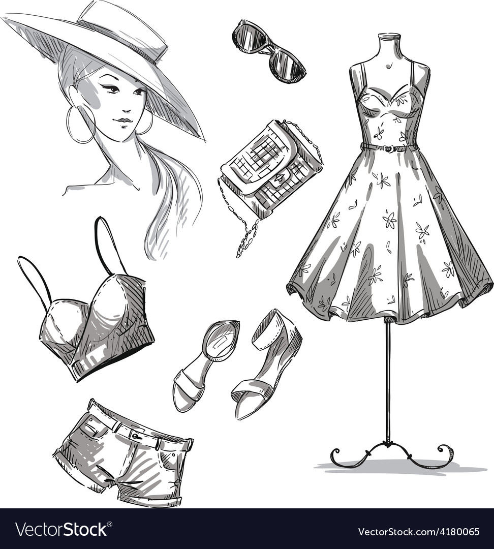 Collection of summer clothing and accessories vector | Price: 1 Credit (USD $1)