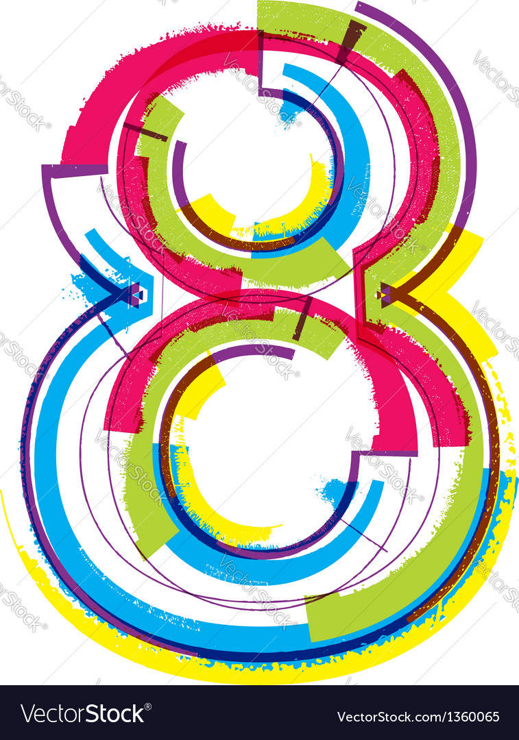 Colorful grunge font number 8 vector | Price: 1 Credit (USD $1)