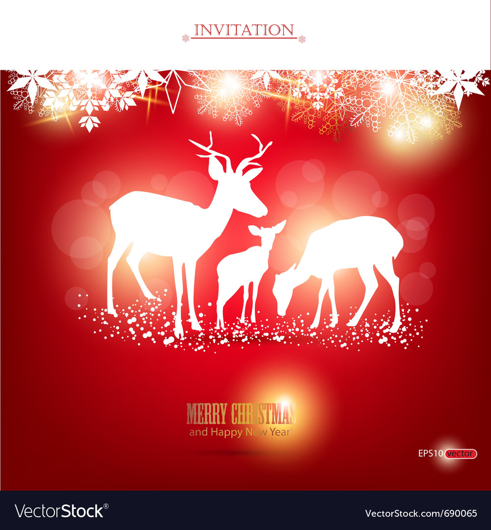 Elegant christmas background with deers wit vector | Price: 1 Credit (USD $1)