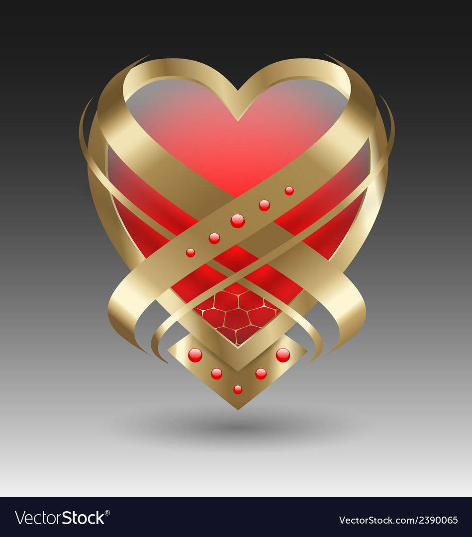 Elegant metallic heart embleme with embellishment vector | Price: 1 Credit (USD $1)