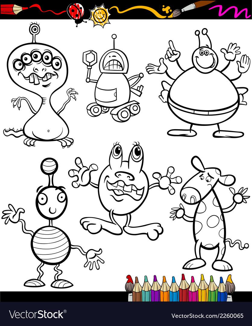 Fantasy set cartoon coloring book vector | Price: 1 Credit (USD $1)