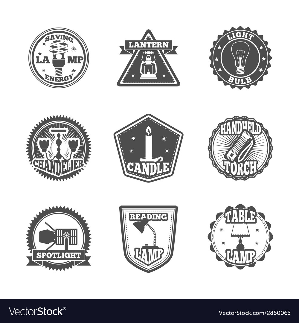 Flashlight and lamps label set vector