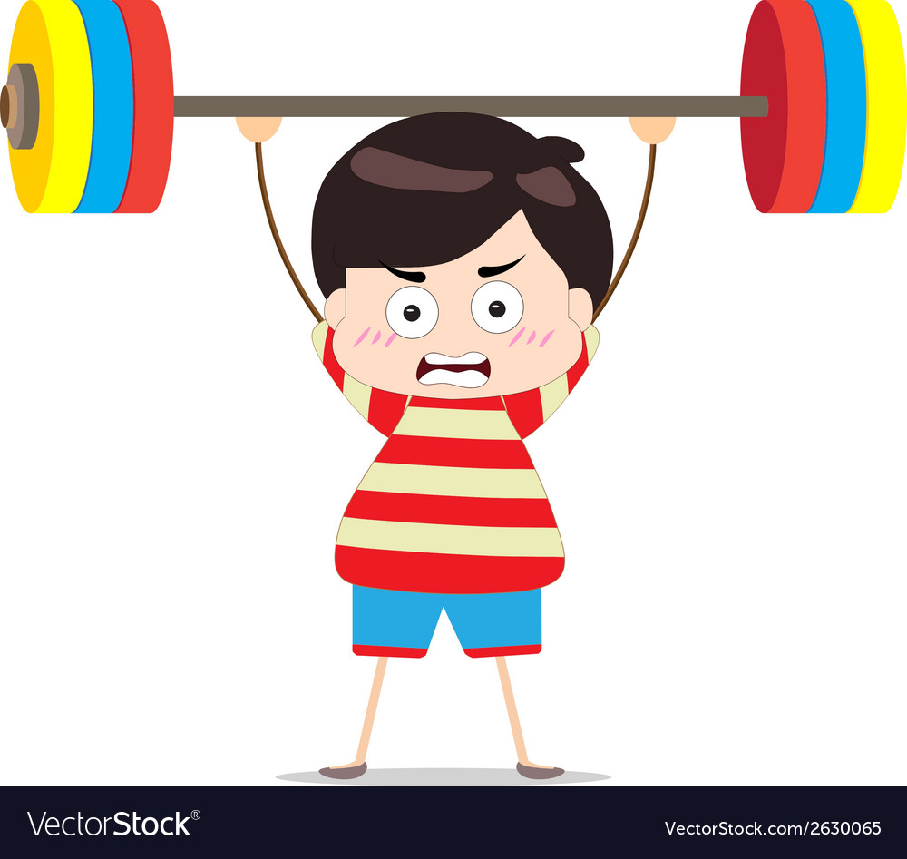 Kids weightlifting vector | Price: 1 Credit (USD $1)