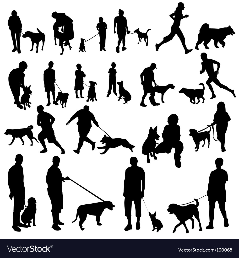 People with dogs vector | Price: 1 Credit (USD $1)