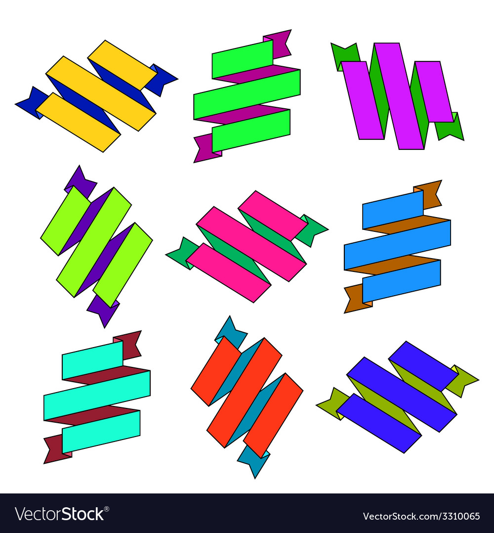 Set of cartoon paper colored zigzag ribbons vector | Price: 1 Credit (USD $1)