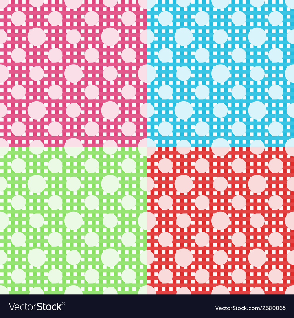 Set of four polka dot seamless patterns vector | Price: 1 Credit (USD $1)